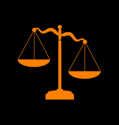 scales of justice sign orange icon on black vector image vector image