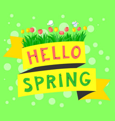 spring floral banner with tulips hello spring vector image vector image