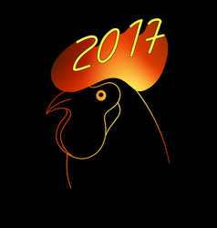 fiery rooster the symbol of the chinese new year vector image vector image