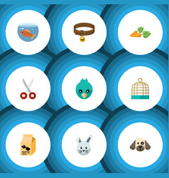 Flat icon pets set of puppy sparrow fishbowl and vector