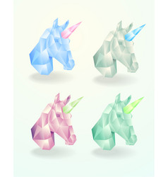 set of the head of a unicorn low poly vector image