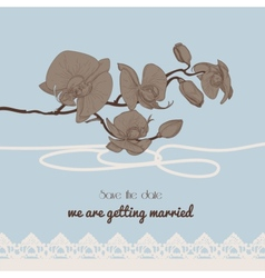 Vintage style wedding invitation orchid twig and vector image