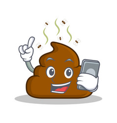 With phone poop emoticon character cartoon vector
