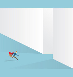 Businessman running to exit way vector
