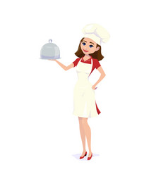 cook chef girl carrying vector image