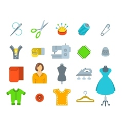 Sewing tools flat icons vector image