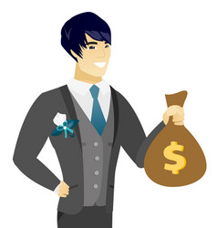 young asian groom showing a money bag vector image vector image