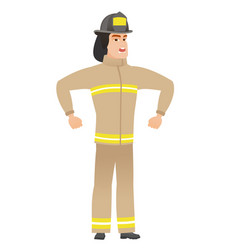 Young caucasian angry firefighter screaming vector