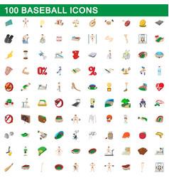 100 baseball icons set cartoon style vector
