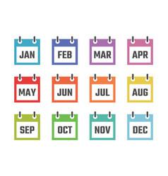 12 month calendar sign set vector image