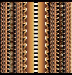 3d striped greek seamless borders pattern vector image