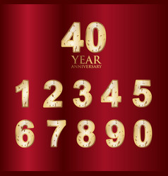 400 year anniversary set gold with red background vector