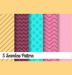 5 seamless pattern set fashion abstract paper art vector