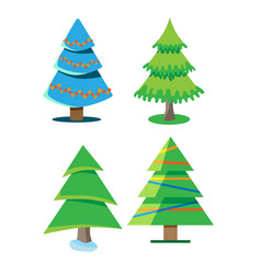 A set of christmas trees with different shapes vector