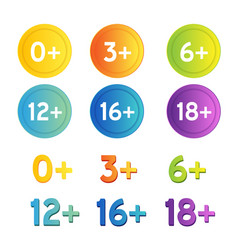 Age restriction icons set labels with years limit vector