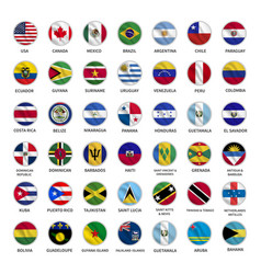 all american country flags icons circle shape vector image