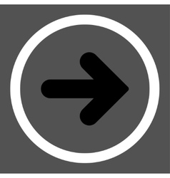 Arrow Right flat black and white colors rounded vector