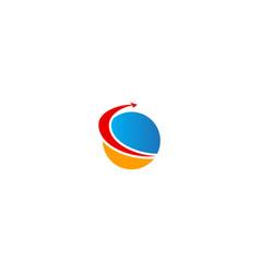 arrow sphere fast grow logo vector image