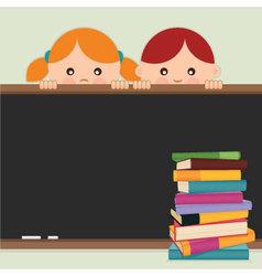 Back to school - kids blackboard and books vector