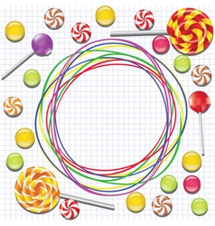 Background with candies and doodles vector