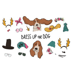 Basset hound dog couple portraits with accessories vector