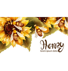 Bees making honey from sunflower watercolor vector