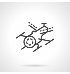 Black line drone icon vector