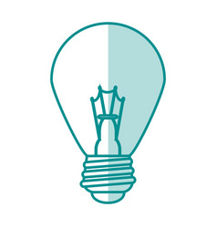 Blue silhouette shading of light bulb on icon vector