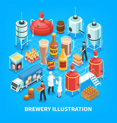 Brewery isometric composition vector