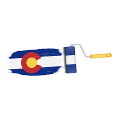brush stroke with colorado national flag isolated vector image