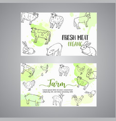 Butcher business card hand drawn farm animals vector