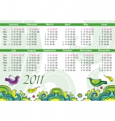 calendar for 2011 with flowers vector image