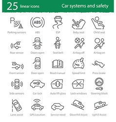 car interface and electronic safety systems icons vector image