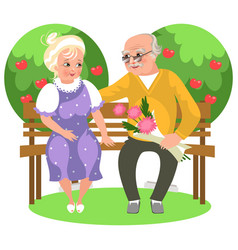 cartoon happy couple sitting in garden on bench vector image