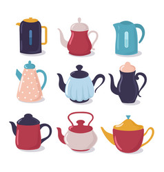 cartoon kettle set teapot with spout kitchenware vector image