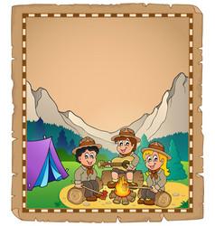Children scouts theme parchment 2 vector