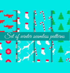 christmas seamless pattern set with candy canes vector image