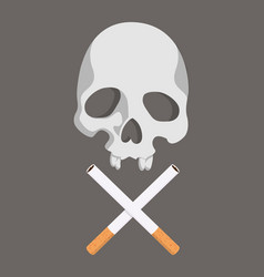 cigarette butt with skull vector image