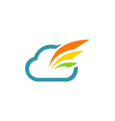 Cloud data technology company logo vector