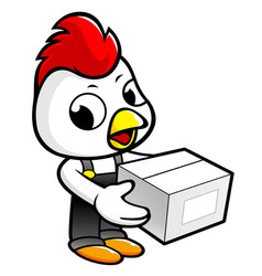 Cock character holding a box with both hands vector