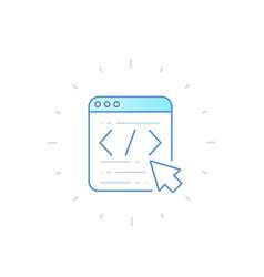 Coding web design app development icon vector