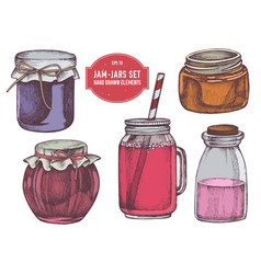 collection hand drawn colored jars vector image