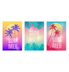 colored summer backgrounds with palm trees vector image