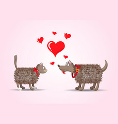 couple of lovers funny cartoon cat and dog with vector image