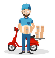 Courier delivers parcels on a moped on a white vector