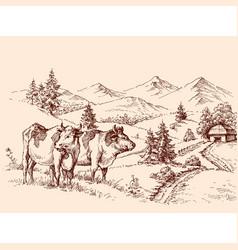 cows farm drawing dairy label design vector image