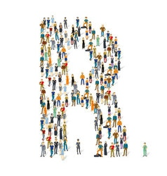 Crowded people alphabet figures and letter vector