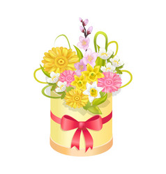 Cute bouqet with different flowers colorful banner vector