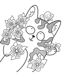 doodle coloring book page cute cat in flowers vector image