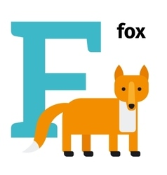 English animals zoo alphabet letter F vector